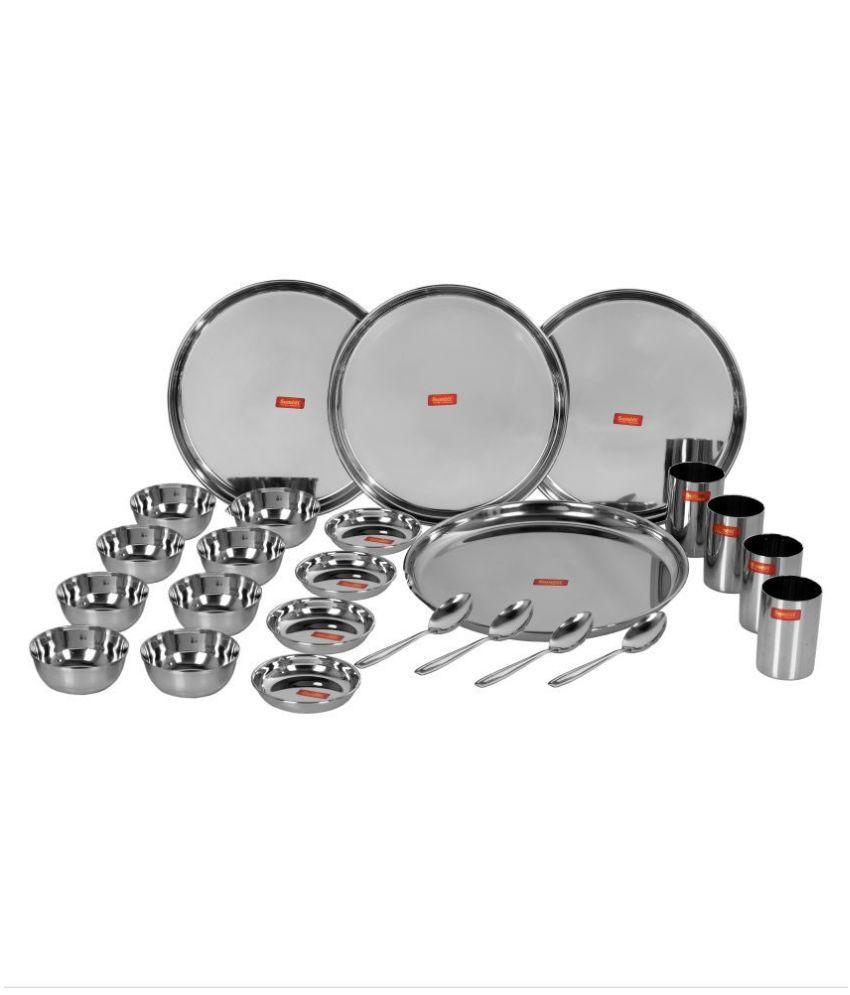 Sumeet Mirror Finish Stainless Steel Dinner Set of 24 Pieces