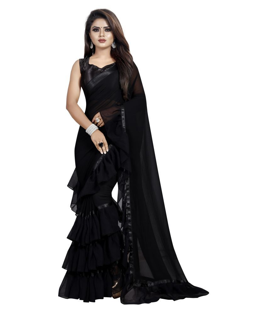 I SHREE KHODIYAR CREATION Black Georgette Saree
