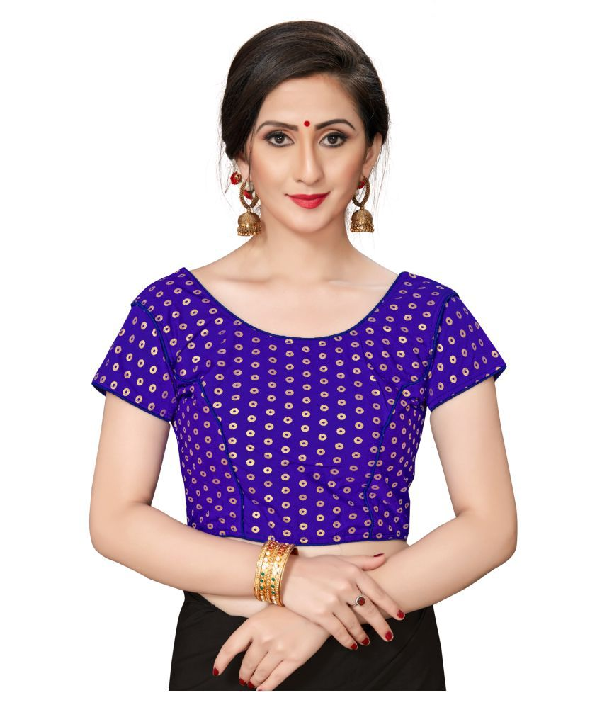 Shubh Sanidhya Blue Jacquard Readymade with Pad Blouse