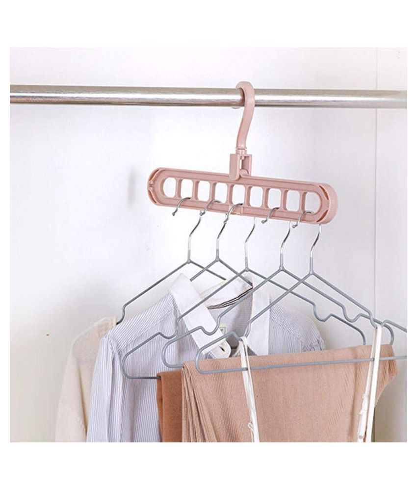 Everbuy  Set of 2  Multifunctional Wardrobe Space Saver 360 Degrees Rotatable Hook 9 Holes Design Anti Skid Plastic Magic Folding Hangers for Clothes