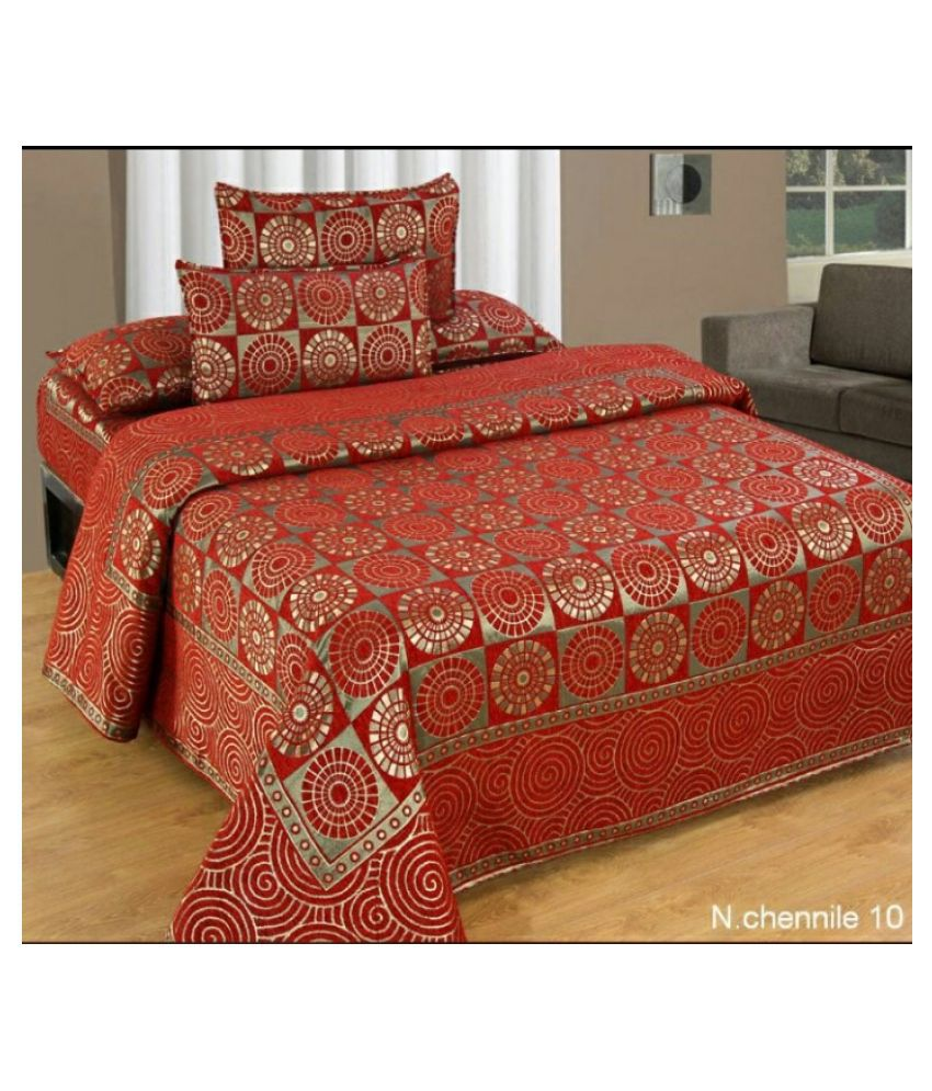 luvnoor handloom Velvet Double Bedsheet with 2 Pillow Covers