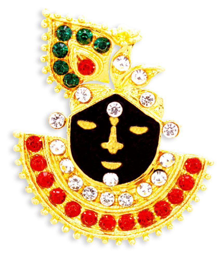 Devoik Gold Plated Stone Studded Heavy Shreenathji Locket/Pendent