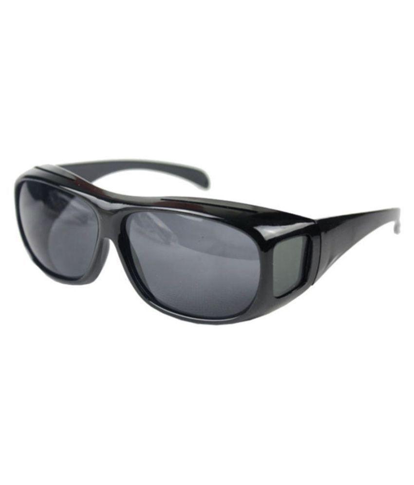 SNR Bike Rider Day & Night HD Night Vision Wrap Around Driving Glasses / Goggles Sun Optics(Black)