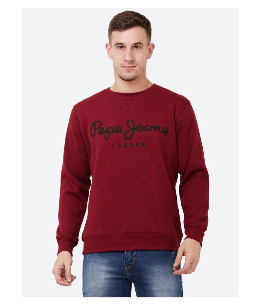 Pepe Jeans Maroon Round Sweatshirt