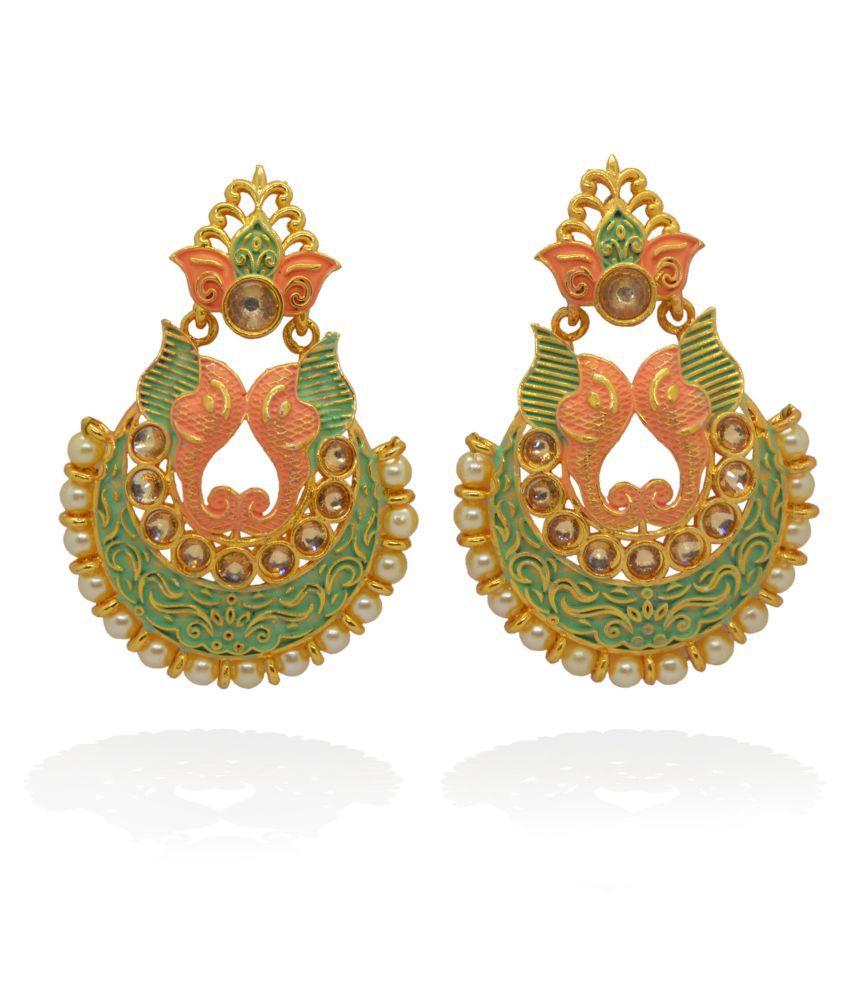 j. j. jewellers pearl pattern jhumka jhumki earrings for women and girls