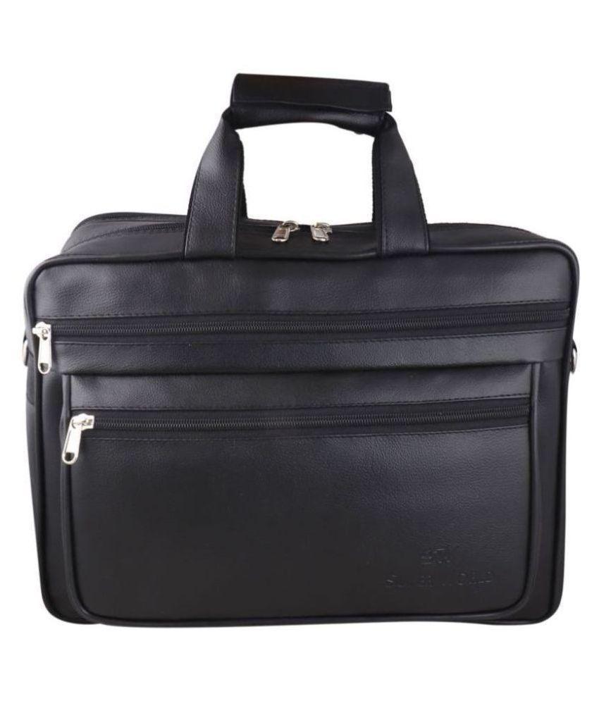 SW Super World Stylish Black Synthetic Office Messenger Bag