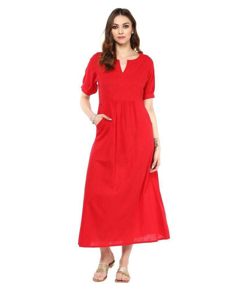 Jaipur Kurti Cotton Red A- line Dress