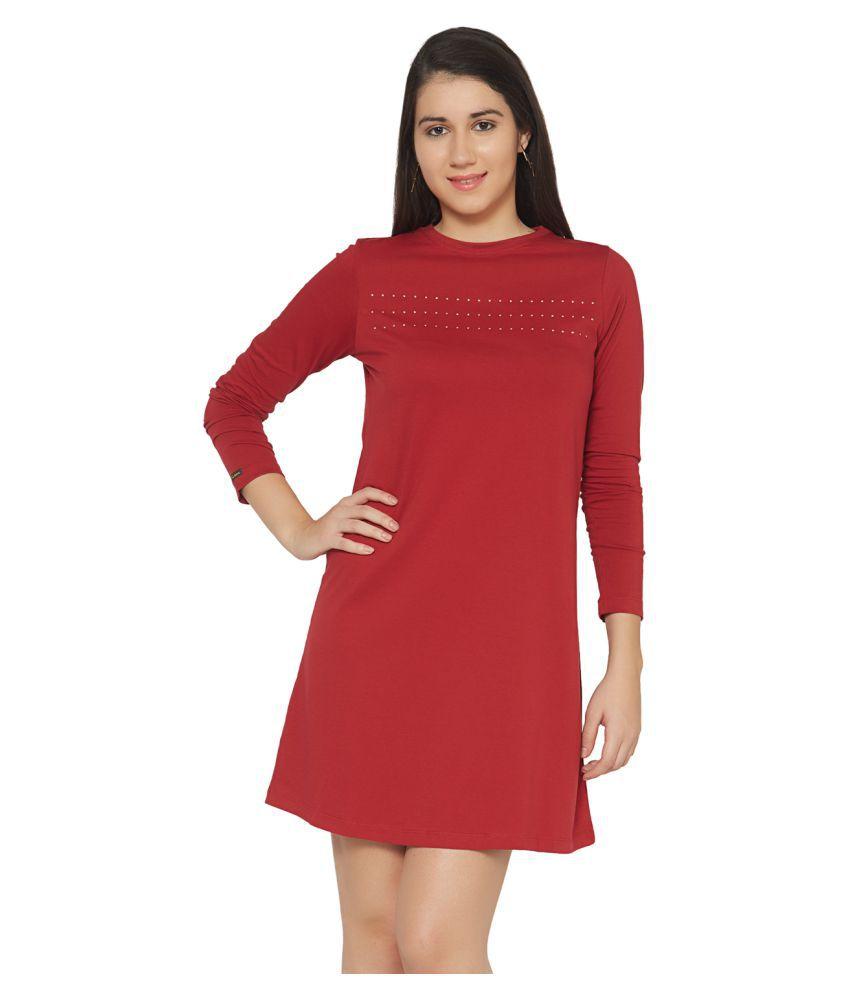 Cult Fiction Cotton Maroon Sheath Dress