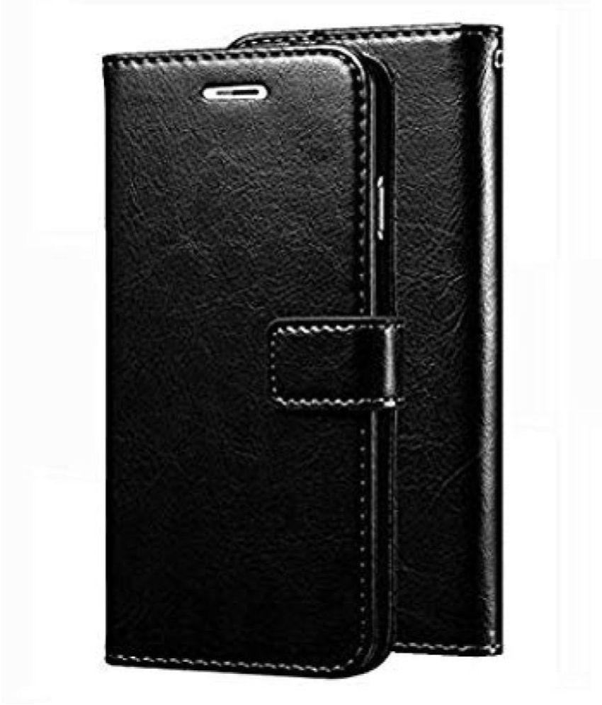Xiaomi Redmi Note 8 Flip Cover by KOVADO - Black Original Leather Wallet