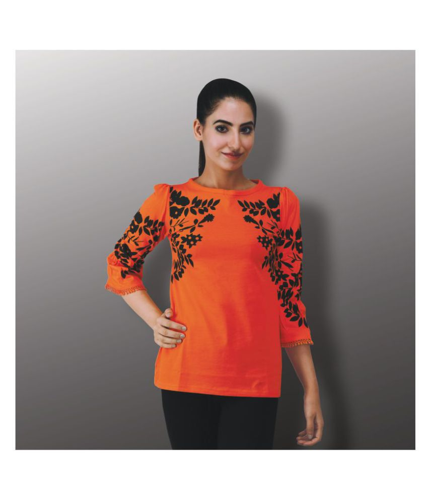 Sane Moda Cotton Orange T-Shirts