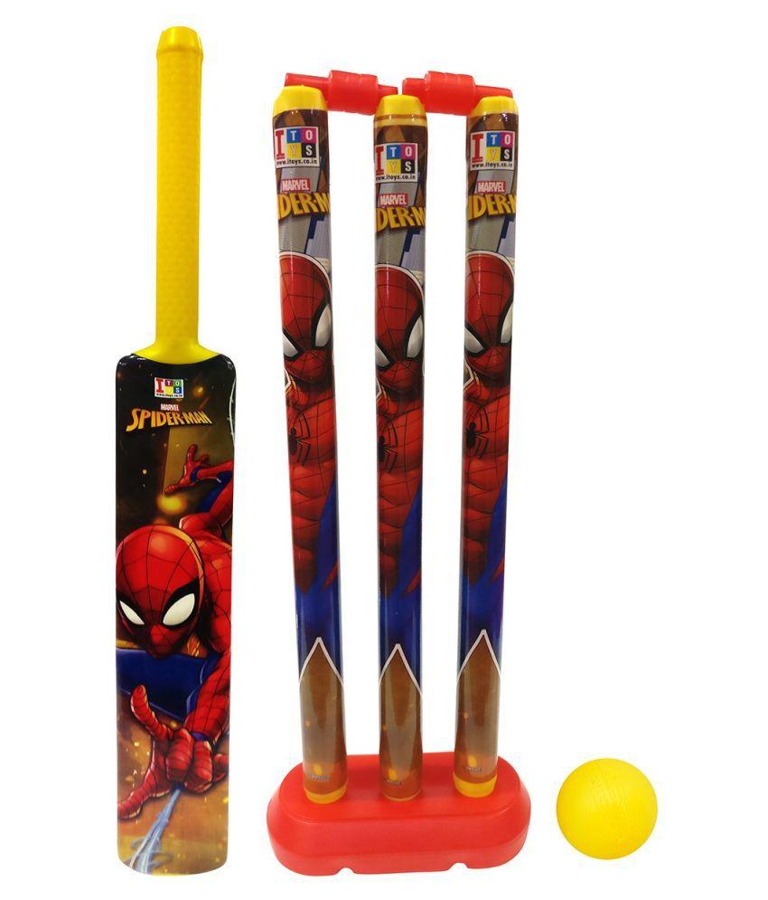 yatri enterprise Group Marvel Spiderman Cricket Set for Kids, Medium (Multicolour)