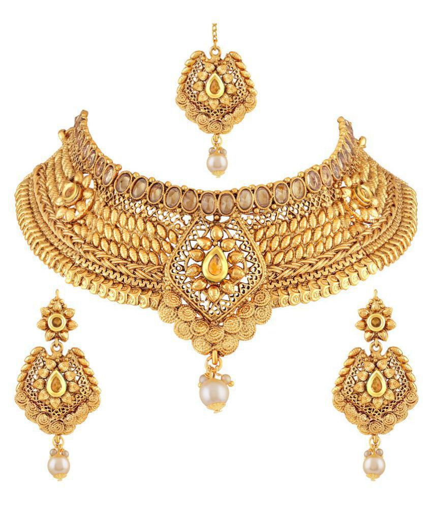Asmitta Jewellery Zinc Golden Choker Traditional Gold Plated Necklaces Set