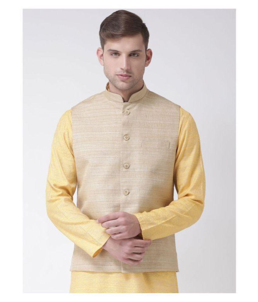 Tabard Beige Silk Nehru Jacket