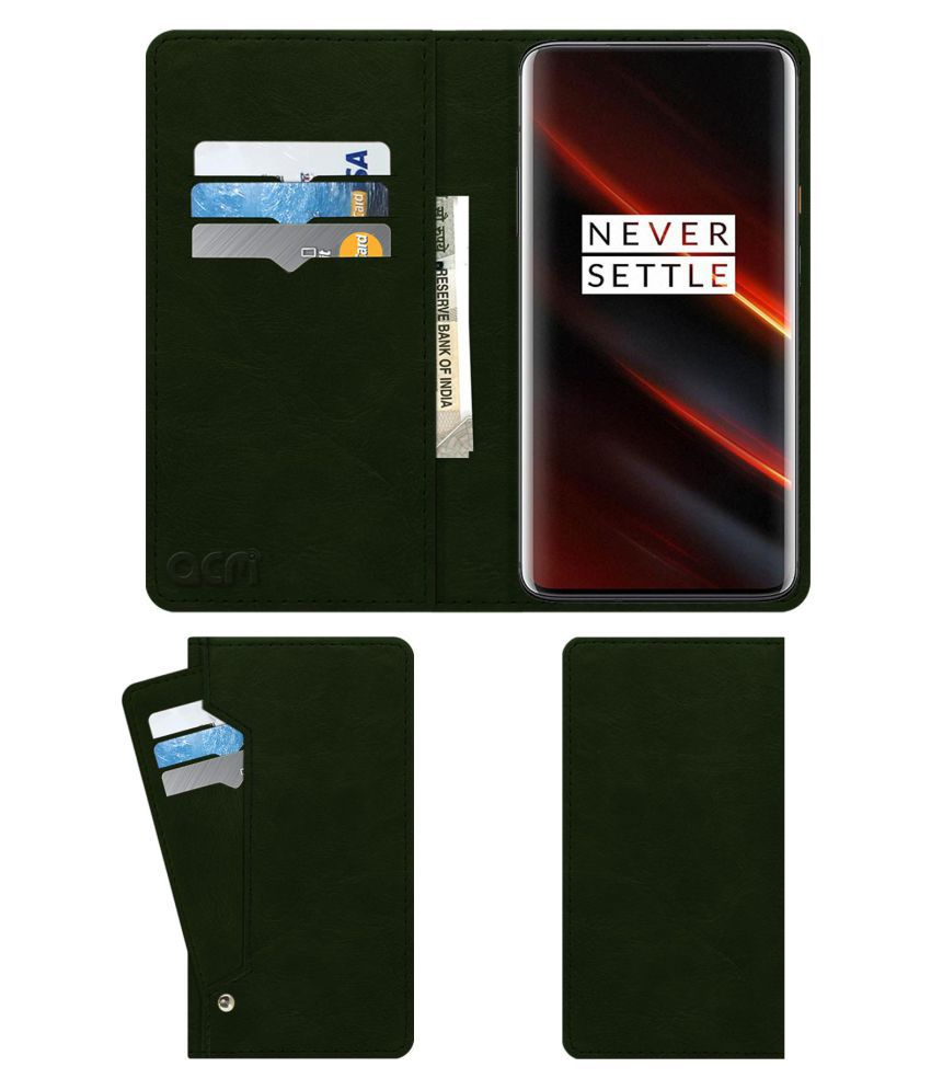 Oneplus 7T Pro Mclaren Edition Flip Cover by ACM - Green Wallet Case,Teal Green