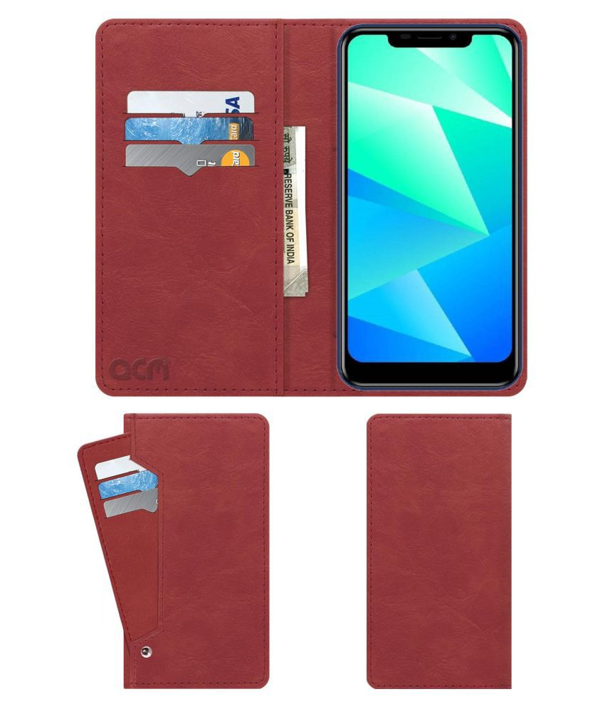 Yuho Vast 2 Flip Cover by ACM - Pink Wallet Case,Peach Pink