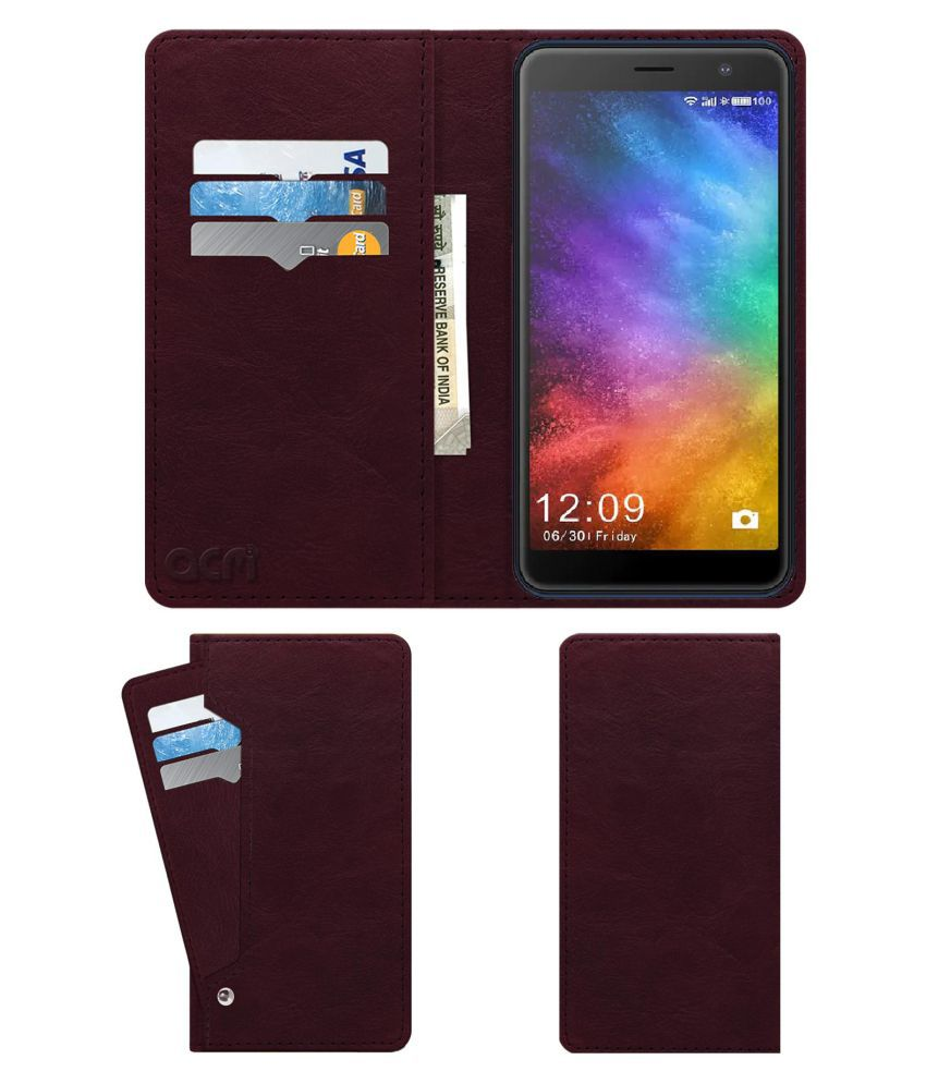 Ziox Duotel D1 Flip Cover by ACM - Red Wallet Case,Burgundy Red