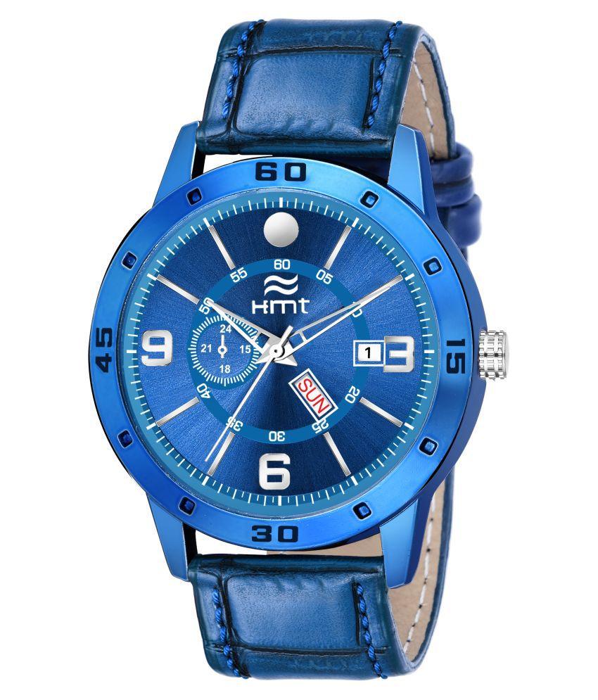 Hemt HM GR1000 BLU BLU 1 Leather Analog Men #039;s Watch