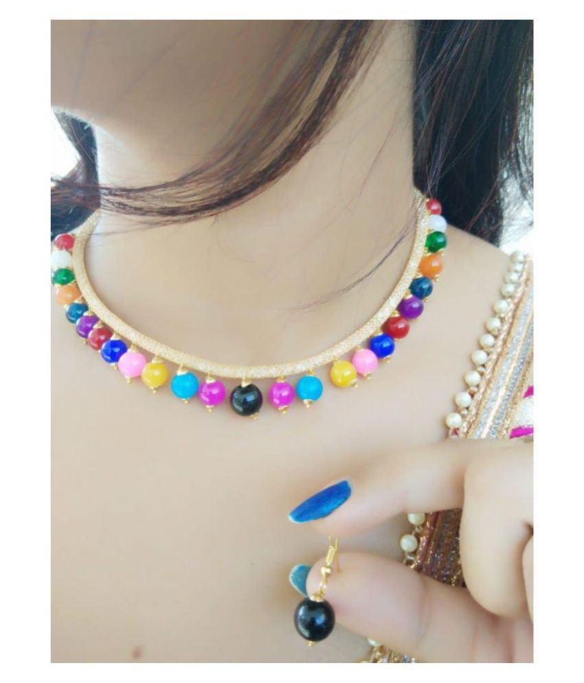 Darshini Designs Alloy Multi Color Collar Contemporary/Fashion Gold Plated Necklaces Set