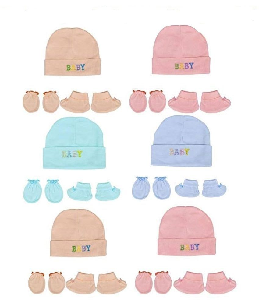 Gouravsumana Baby Boys and Baby Girl's Soft Cotton Cap ( Multicolour ; Pack Of 6 ) 6-9 Months