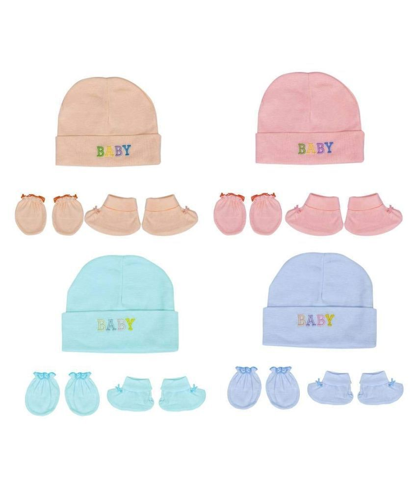 Gouravsumana Baby Boys and Baby Girl's Soft Cotton Cap ( Multicolour ; Pack Of 4 ) 0-3 Months