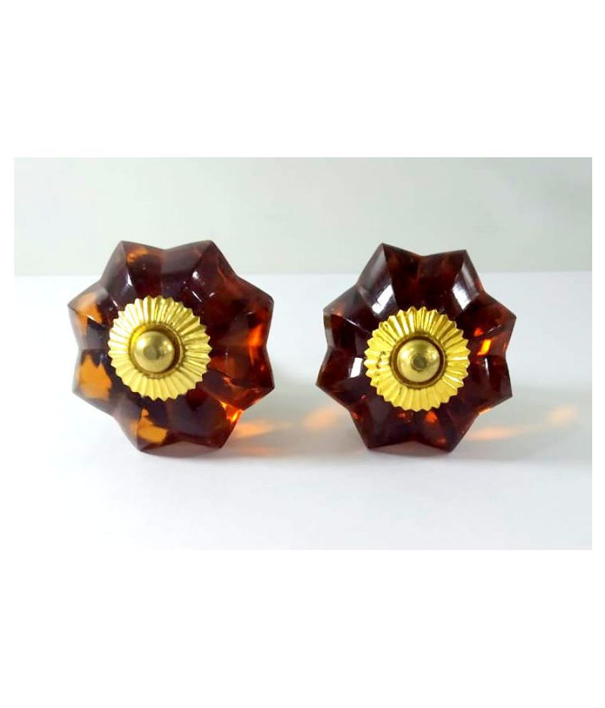 Set of 2 Pcs Antique Vintage old Glass Brown Door Knob with Door Plate Architectural Salvage