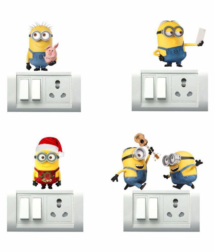 Decor Villa Minions Cartoon Characters Sticker   20 x 22 cms
