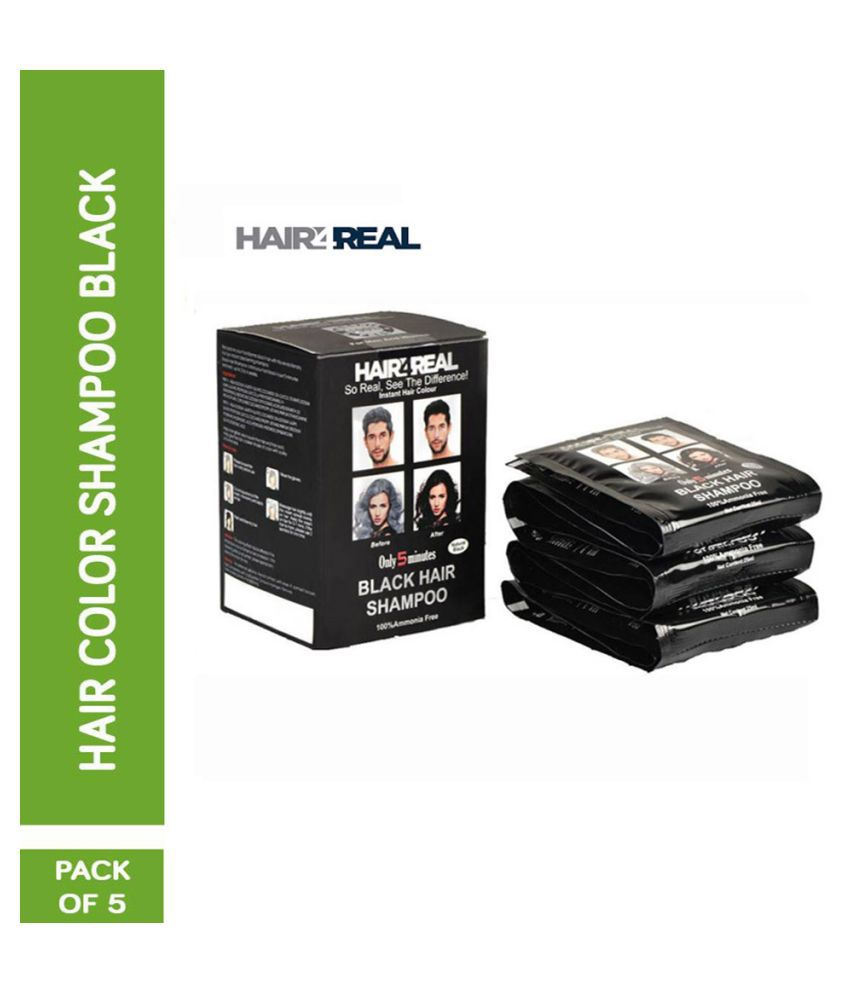 HAIR4REAL Instant 5 Minute Shampoo Temporary Hair Color Black 125 mL Pack of 5