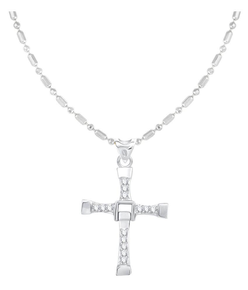 VIRINA Christain Cross Rhodium Plated Alloy & Brass Cubic Zirconia God Pendant for Women & Men [VGP1073R]