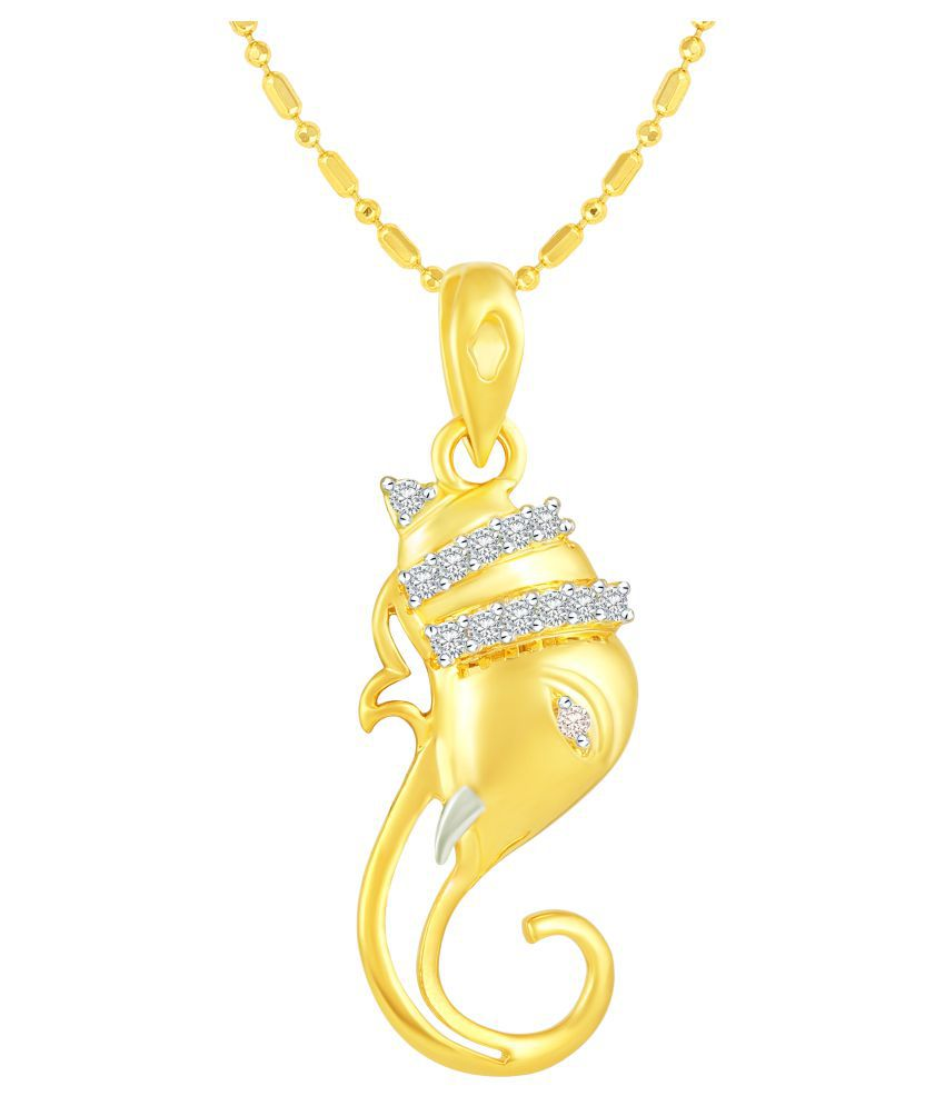 VIRINA Ekdantay Ganesh Gold Plated Alloy Cubic Zirconia Studded God Pendant with Chain for Women & Men [VGP1018G]