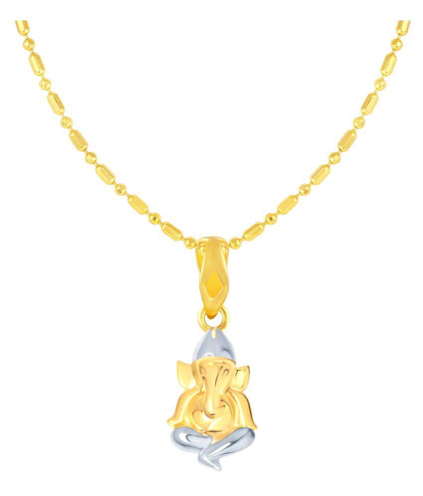 VIRINA Ganesh Gold Plated Alloy & Brass Cubic Zirconia God Pendant with Chain for Women & Men [VGP1095G]