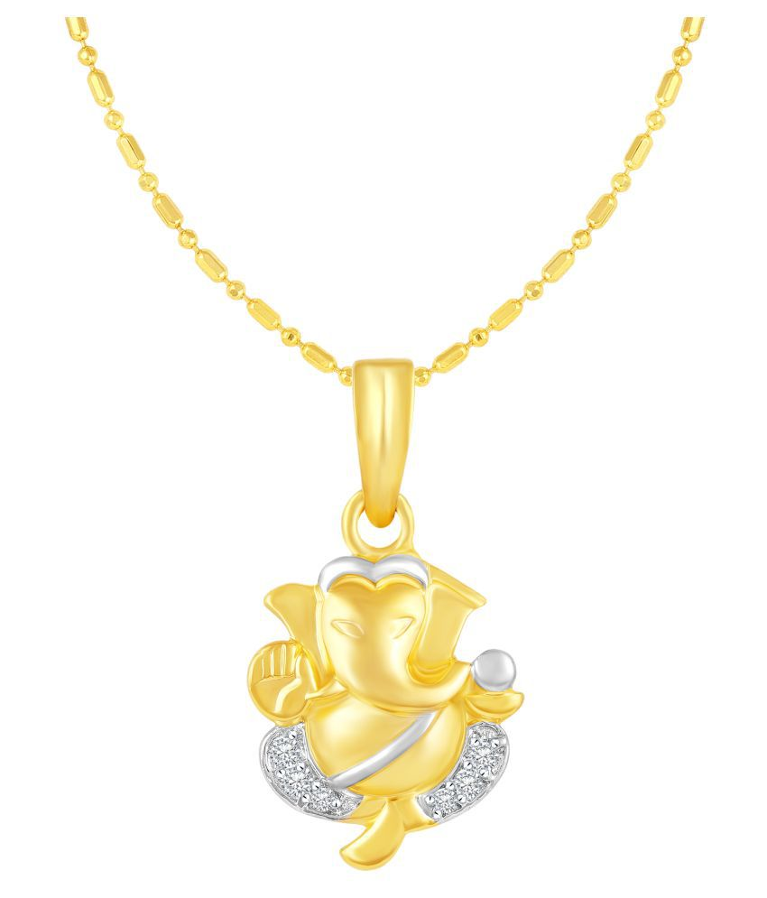 VIRINA Ganpati Gold Plated Alloy & Brass Cubic Zirconia God Pendant with Chain for Women & Men [VGP1058G]