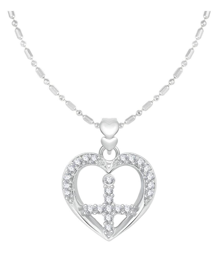 VIRINA Heart Christain Cross Rhodium Plated Alloy & Brass Cubic Zirconia God Pendant for Women & Men [VGP1085R]