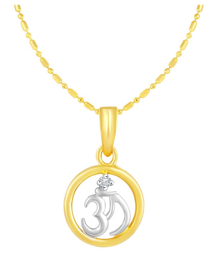 VIRINA OM Gold Plated Alloy & Brass Cubic Zirconia God Pendant with Chain for Women & Men [VGP1050G]