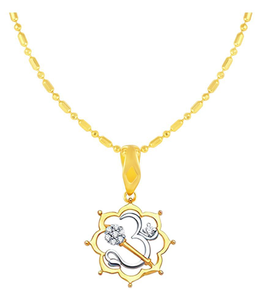 VIRINA OM Gold Plated Alloy & Brass Cubic Zirconia God Pendant with Chain for Women & Men [VGP1092G]