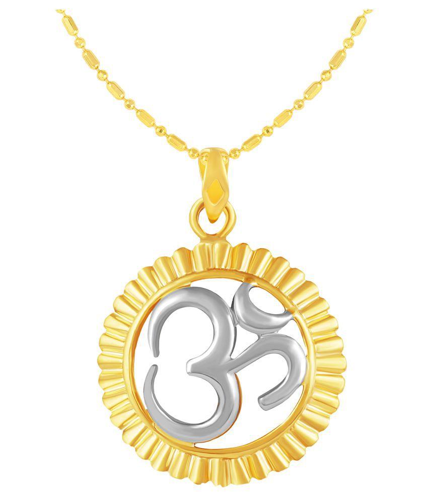 VIRINA OM Gold Plated Alloy & Brass Cubic Zirconia god Pendant with Chain for Women & Men [VGP1115G]