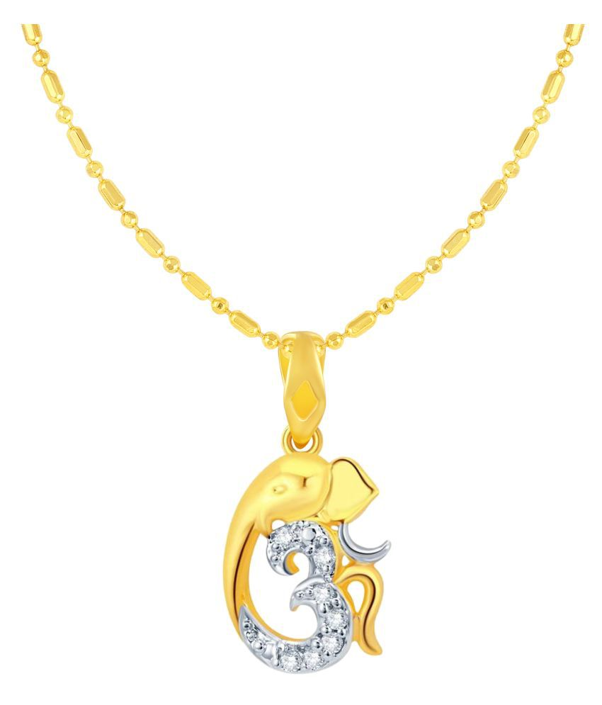 VIRINA Om Ganesh Gold Plated Alloy & Brass Cubic Zirconia God Pendant with Chain for Women & Men [VGP1100G]