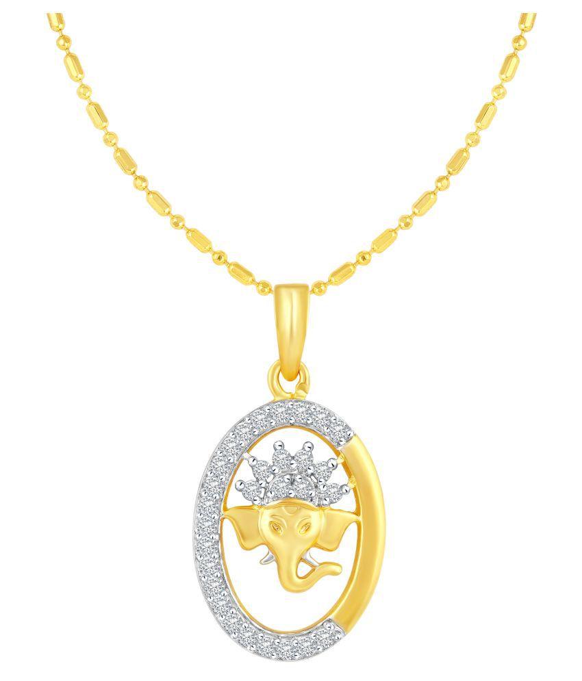 VIRINA Vakratunda Gold Plated Alloy & Brass Cubic Zirconia God Pendant with Chian for Women & Men [VGP1026G]