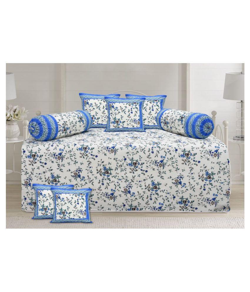Decorum Cotton Blue Floral Diwan Set 8 Pcs