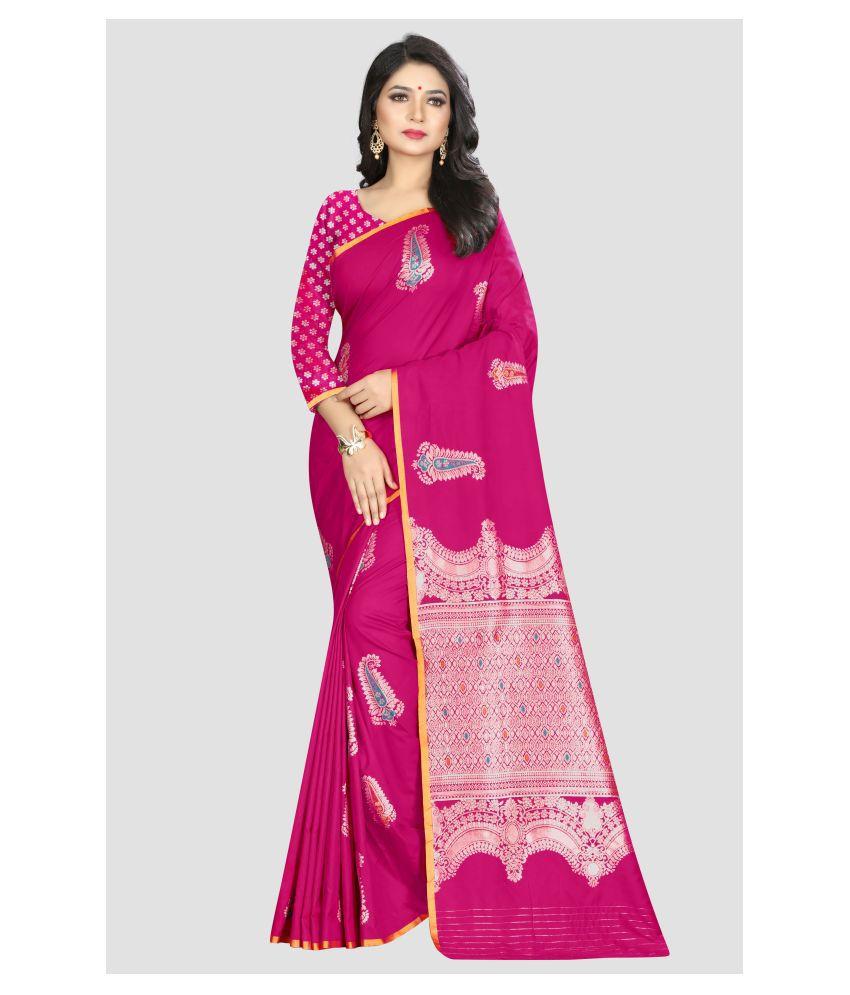 Sharaa Ethnica Pink Kanchipuram Saree