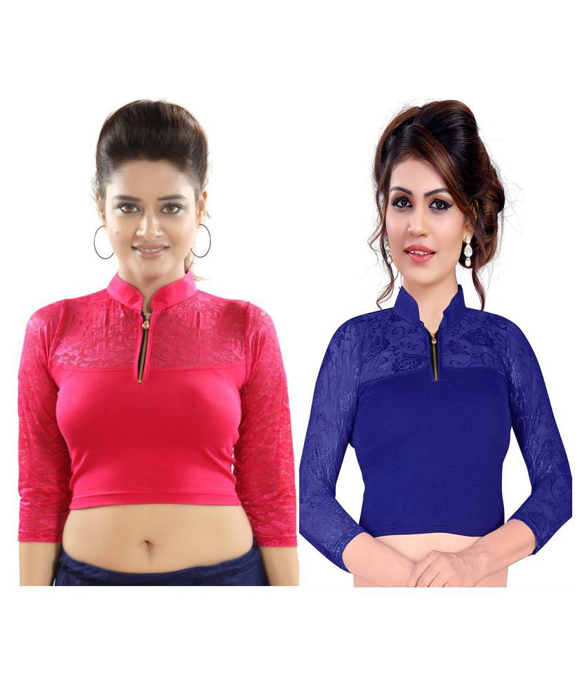 Bulbul Multicoloured Lycra Readymade without Pad Blouse