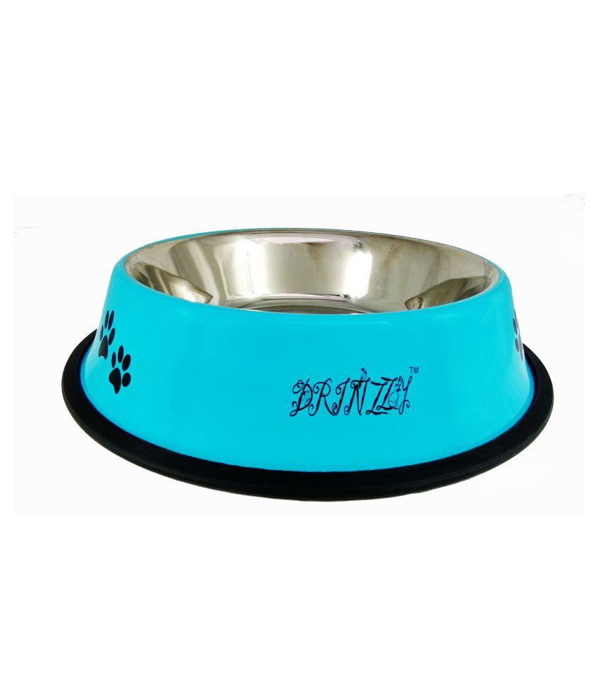 Drinzzy Stainless Steel  Anti Skid Sky blue Dog Bowl  (1600ml)