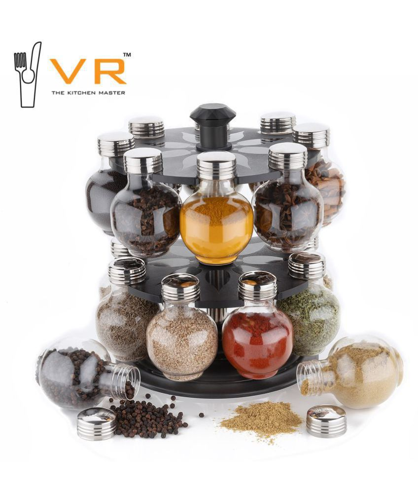 Vr Revolving Spice Rack PET Spice Container Set of 16 300 mL