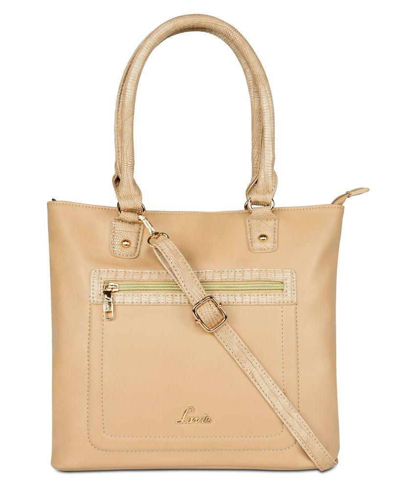 Lavie Beige P.U. Tote Bag