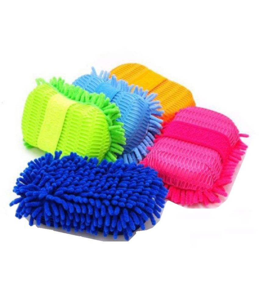 New Multi Colour Car Washing Sponge With Microfiber Washer Towel Duster For Cleaning Car.