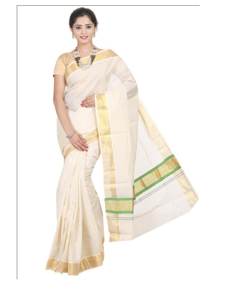 Atex White Cotton Saree