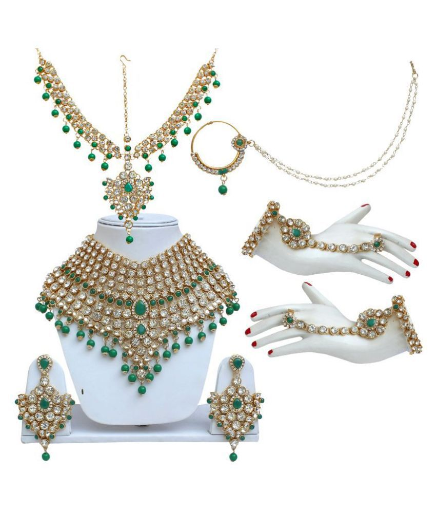LUCKY JEWELLERY Alloy Green Designer Necklaces Set
