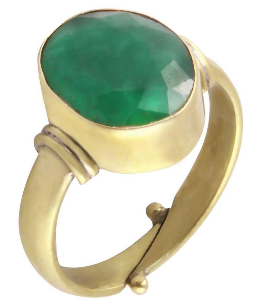 Todani Jems 5.25 Ratti Natural Certified Emerald Panna Gemstone Panchdhatu Ring for Men and Women