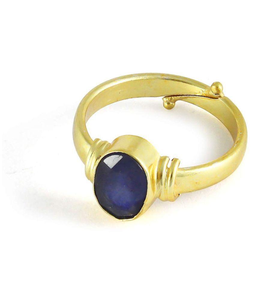 TODANI JEMS® Sapphire/Neelam 7.60 ct 8.25 Ratti Stone Ashthhdhatu Adjustable Ring for Men