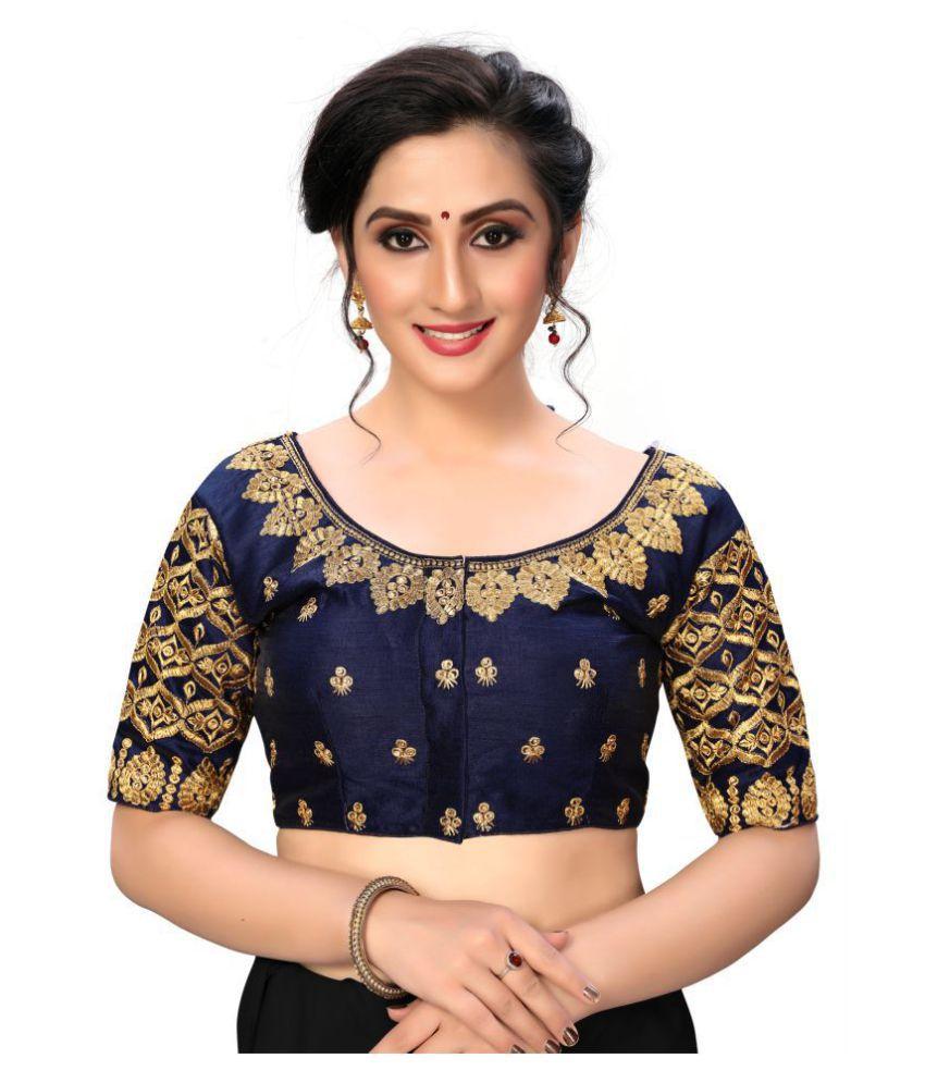 Shubh Sanidhya Navy Silk Semi Stitched Blouse