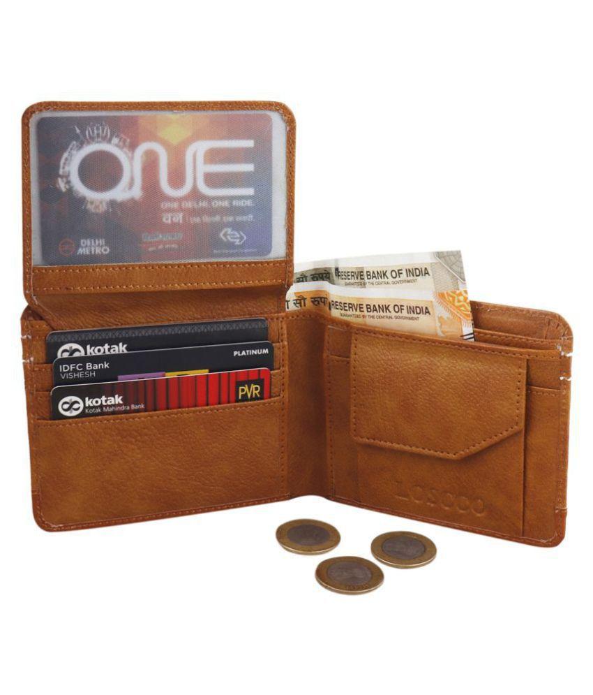loscco Faux Leather Tan Fashion Long Wallet